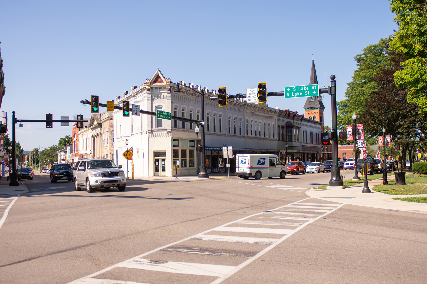 Picture during the day at the corner of West Main Street in downtown North East