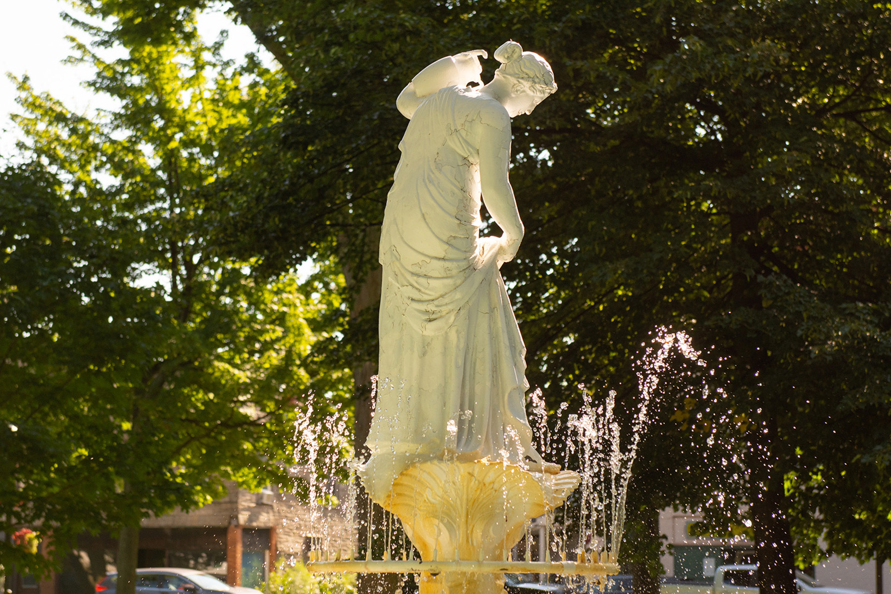 fountain in Gibson park in downtown North East