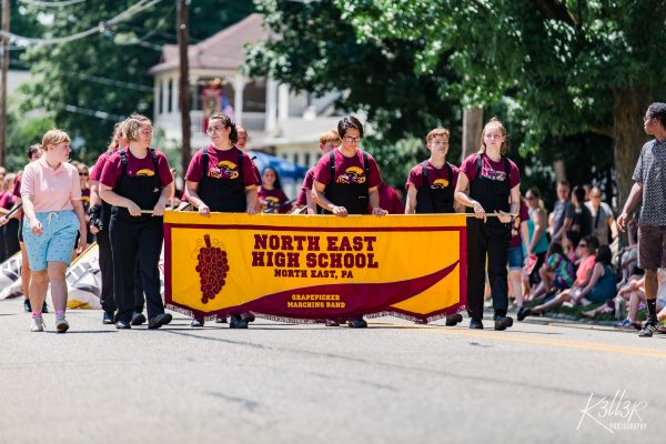 North East Highschool marching in the cherry fest parade