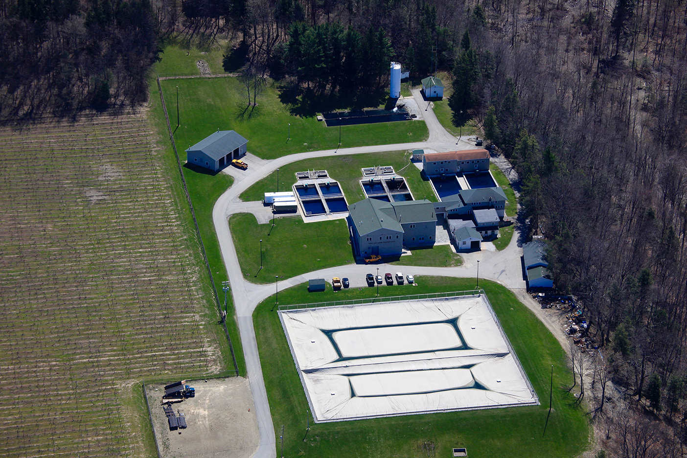 aerial shot of north east borough water filter plant